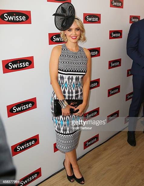 Louise Pillidge partner of Blake Garvey attends the Swisse Marquee on Melbourne Cup Day at Flemington Racecourse on November 4 2014 in Melbourne...