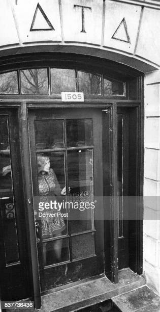 Louise Ptascek of Wauwatosa Wis looks out the front door of the Delta Tau Delta fraternity house where she lives on CU Boulder campus Credit Denver...