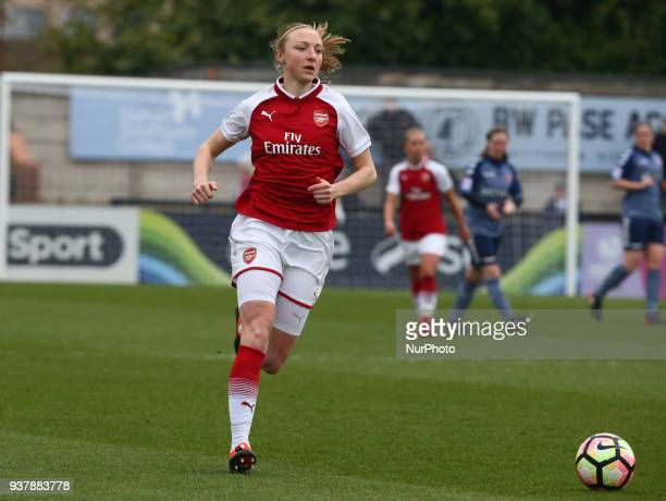 Louise Quinn of Arsenal during SSE Women's FA Cup quarter_final match between Arsenal against Charlton Athletic Women at Meadow Park Borehamwood FC...