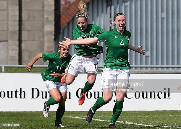 Louise Quinn of Ireland celebrates scoring the opening goal during the FIFA Women's World Cup 2015 Qualifier between Ireland and Germany at Tallaght...