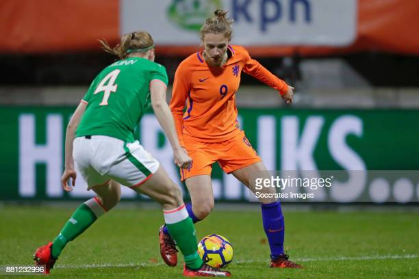 Louise Quinn of Republic of Ireland Vivianne Miedema of Holland Women during the World Cup Qualifier match between Holland v Republic of Ireland at...