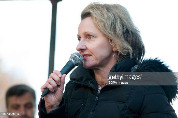 Louise Raw author/journalist speaks at an antiracist counter demo in London during a demonstration against the 'Brexit Betrayal March' Thousands of...