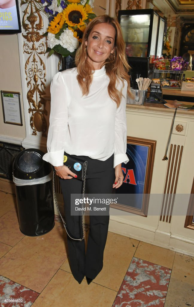 Louise Redknapp poses in the foyer at the press night performance of 'Evita' at The Phoenix Theatre on August 2, 2017 in London, England.