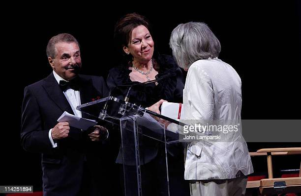 Louise Riggio Leonard Riggio and Liz Smith attend Literacy Partners' 27th annual Evening of Readings gala at David H Koch Theater Lincoln Center on...