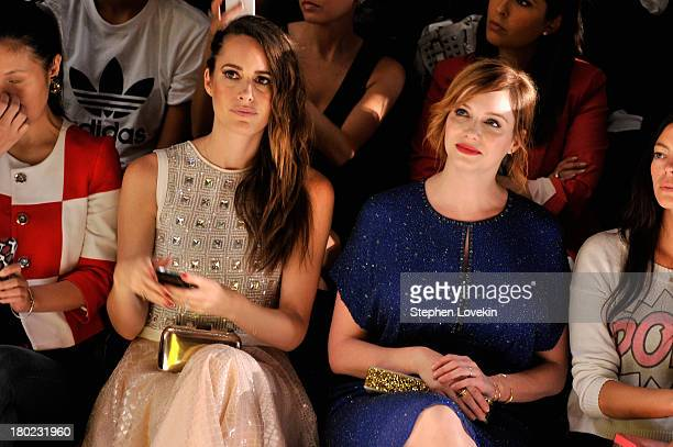 Louise Roe and actress Christina Hendricks andattend the Jenny Packham fashion show during MercedesBenz Fashion Week Spring 2014 at The Studio at...