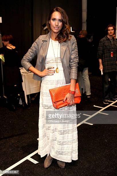 Louise Roe attends backstage at the Charlotte Ronson Fall 2012 fashion show during MercedesBenz Fashion Week at The Stage at Lincoln Center on...