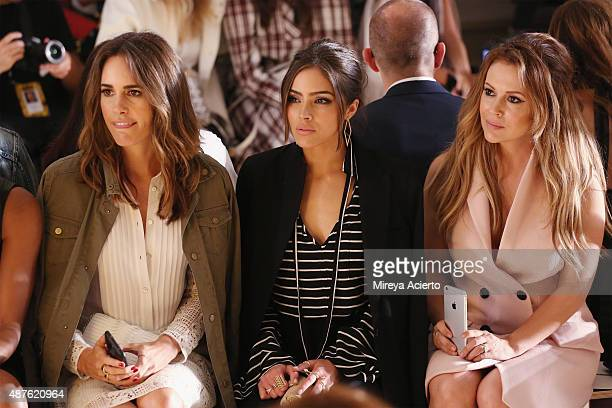 Louise Roe Olivia Culpo and Alyssa Milano attend the Marissa Webb fashion show during Spring 2016 MADE Fashion Week at Milk Studios on September 10...