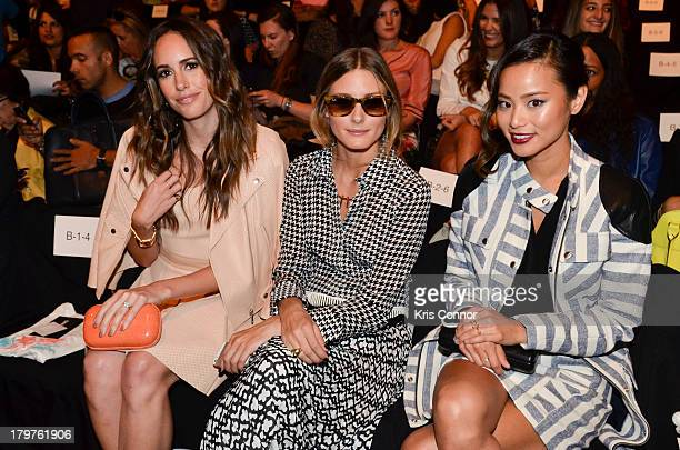 Louise Roe, Olivia Palermo and Jamie Chung attend the Rebecca Minkoff Spring 2014 fashion show at The Theater at Lincoln Center on September 6, 2013...