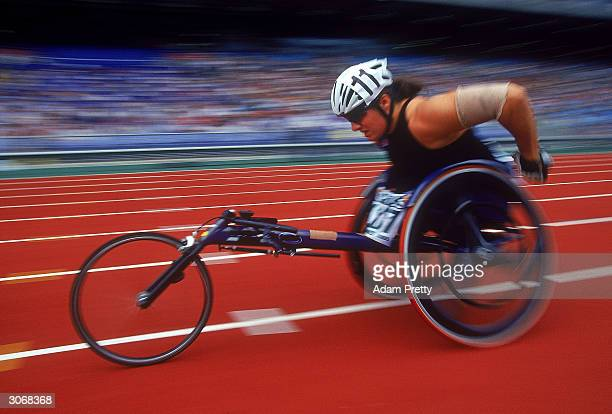 Louise Sauvage of Australia in action during the Australian Track and Field Championships held at Stadium Australia February 27, 2000 in Sydney,...