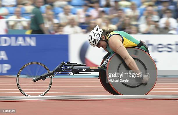 Louise Sauvage of Australia in action during Women's 800 metres Weelchair SemiFinal at the City of Manchester Stadium during the 2002 Commonwealth...
