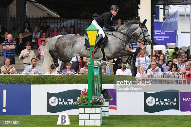 Louise Saywell on Hello Winner and of United Kindom take part in the RDS Dublin Horse Show 'Irish Sports Council Classic' International Competition...