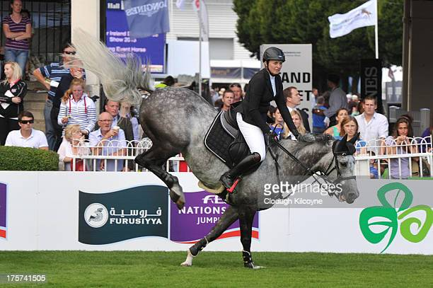 Louise Saywell on Hello Winner and of United Kingdom take part in the RDS Dublin Horse Show 'Irish Sports Council Classic' International Competition...