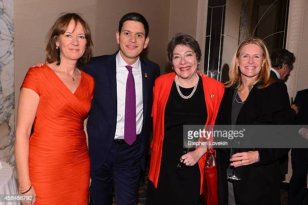 Louise Shackelton and IRC President and CEO David Miliband pose for a photo with guests at the Annual Freedom Award Benefit Event hosted by...