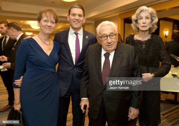 Louise Shackelton David Miliband Henry Kissinger and Nancy Kissinger attend The 2017 Rescue Dinner hosted by IRC at New York Hilton Midtown on...