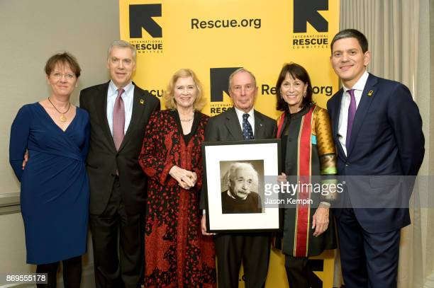 Louise Shackelton Tracy Wolstencroft Liv Ullmann Michael Bloomberg Katherine Farley and David Miliband attend The 2017 Rescue Dinner hosted by IRC at...