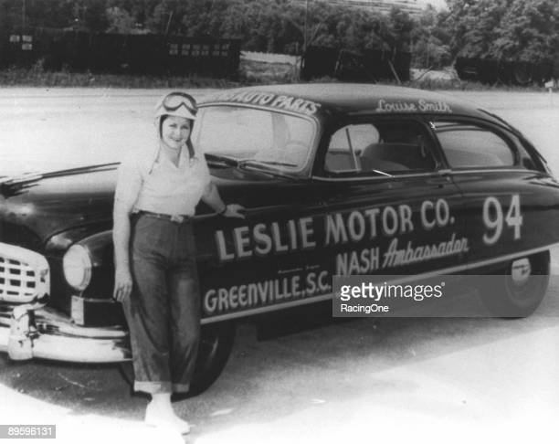 Louise Smith next to the Leslie Motor Co '50 Nash at Occoneechee Speedway where she finished 19th in the 200miler