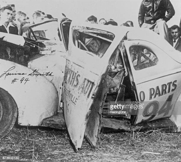 Louise Smith one of the earliest female drivers to compete in NASCAR walked away from this accident at Occoneechee Speedway on Aug 7 1949 She then...