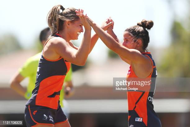 Louise Stephenson of GWS celebrates a goal during the AFLW Rd 4 match between Collingwood and GWS at Morwekk Recreation Reserve on February 24 2019...