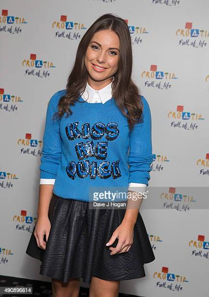 Louise Thompson attends the Croatia 'Full of Life' floating island party on London's River Thames on Butler's Wharf on October 1 2015 in London...