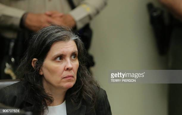 Louise Turpin appears at her court arraignment with husband David in Riverside California on January 18 2018 The California couple who held their 13...