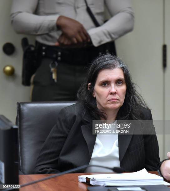 Louise Turpin looks on during her court arraignment with husband David in Riverside California on January 18 2018 The California couple who held...