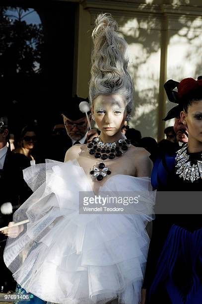 Louise Van De Vorst models an outfit by Romance Was Born during the Opening Night Party for the 2010 L'Oreal Melbourne Fashion Festival at Government...