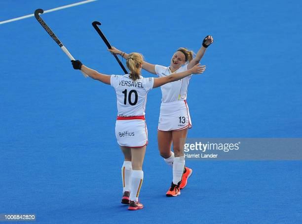 Louise Versavel of Belgium celebrates with teammate Alix Gerniers following their team's victory in the Pool D game between Japan and Belgium of the...