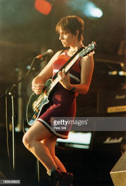 Louise Wener of Sleeper performs on stage at the Glastonbury Festival on June 23rd 1995 in Somerset England Photo by Peter Still/Redferns