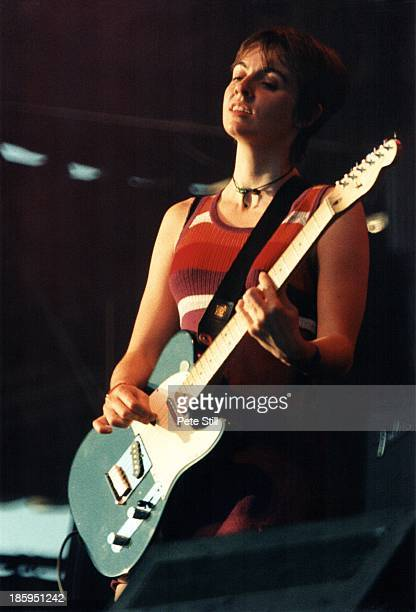 Louise Wener of Sleeper performs on stage at the Glastonbury Festival on June 23rd, 1995 in Somerset, England.