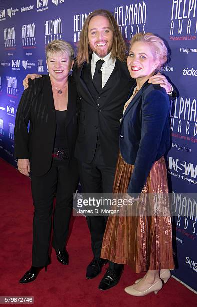 Louise Withers Australian producer with Tim Minchin and his sister Nel Minchin as they arrive ahead of the 16th Annual Helpmann Awards at Lyric...