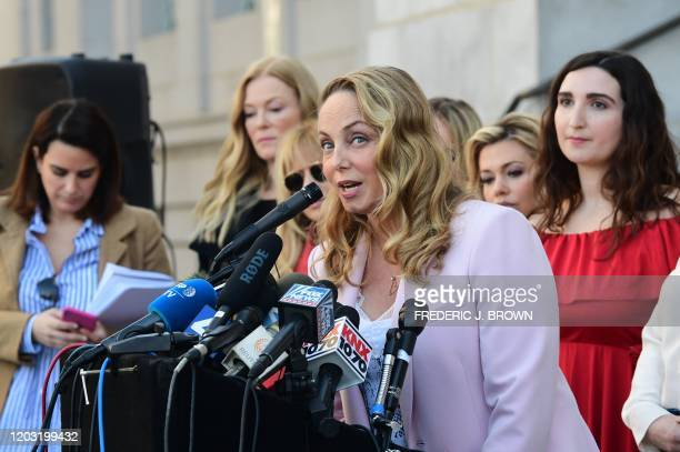 Louisette Geiss, lead plaintiff in Weinstein class action suit, speaks alongside a group of Silence Breakers who have fought for justice by speaking...