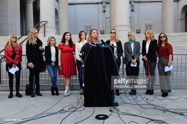 Louisette Geiss speaks alongside a group of Silence Breakers who have fought for justice by speaking out about Harvey Weinsteins sexual misconduct,...