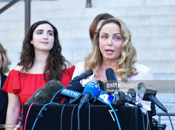 Louisette Geiss speaks at Silence Breakers Hold Press Conference In Los Angeles Following Guilty Verdict In Harvey Weinstein Trial at Los Angeles...