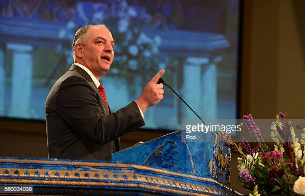 Louisiana Gov John Bel Edwards speaks during funeral services for Baton Rouge police corporal Montrell Jackson at the Living Faith Christian Center...