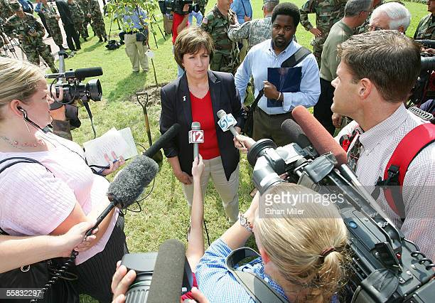 Louisiana Gov Kathleen Blanco speaks to members of the media after a service at Loyola University of New Orleans September 30 2005 in New Orleans...