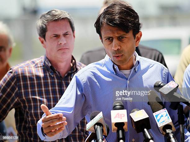 Louisiana Governor Bobby Jindal and US Senator David Vitter meet with the media as they speak about BP's massive oil spill on May 10 2010 in...