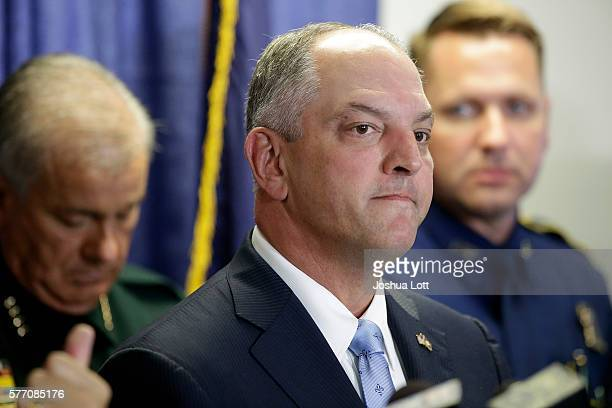 Louisiana Governor John Bel Edwards speaks about three local police officers who were killed by gunman Gavin Long Sunday morning during a news...