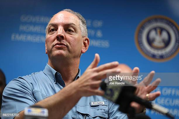 Louisiana Governor John Bel Edwards speaks during a press conference to update the public on FEMA's disaster recover and temporary housing programs...