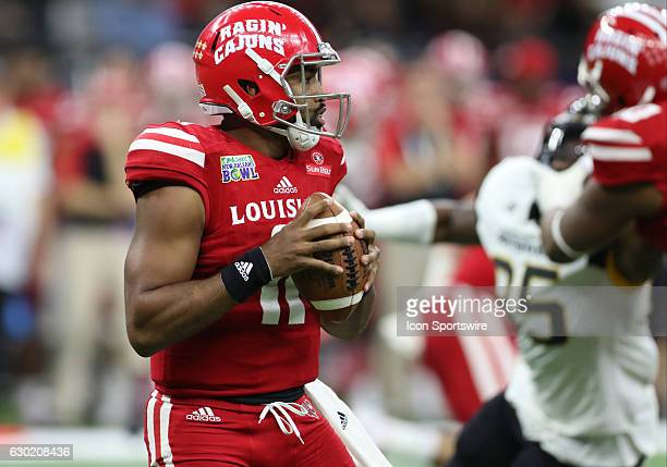 Louisiana Lafayette quarterback Anthony Jennings looks for a receiver in the R+L Carrier New Orleans Bowl on December 17 at The Mercedes-Benz...