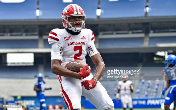 Louisiana receiver Kyren Lacey celebrates after scoring a third quarter touchdown during the game between the Louisiana-Lafayette Ragin Cajuns and...