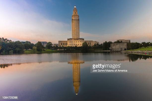 Louisiana State Capitol, Baton Rouge, Louisiana at dusk.