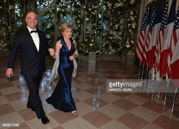 Louisiana state Governor John Bel Edwards arrives in the Booksellers Area of the White House to attend a state dinner honoring French President...