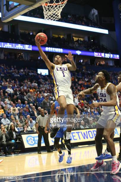 Louisiana State guard Javonte Smart scores during a Southeastern Conference Tournament game between the Florida Gators and LSU Tigers March 15 at...