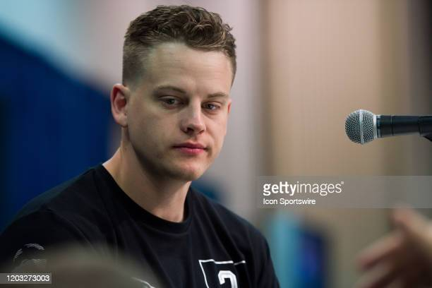 Louisiana State quarterback Joe Burrow answers questions from the media during the NFL Scouting Combine on February 25 2020 at the Indiana Convention...