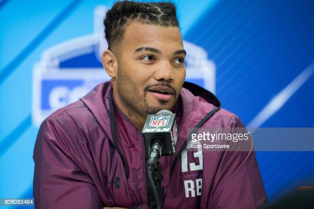 Louisiana State running back Derrius Guice answers questions from the media during the NFL Scouting Combine on March 1 2018 at the Indiana Convention...