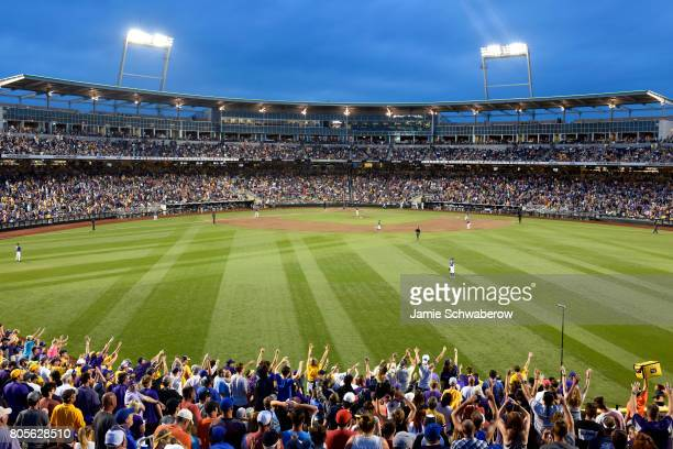 Louisiana State University takes on the University of Florida during the Division I Men's Baseball Championship held at TD Ameritrade Park on June 27...