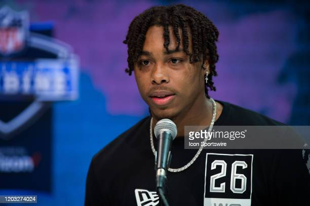 Louisiana State wide receiver Justin Jefferson answers questions from the media during the NFL Scouting Combine on February 25 2020 at the Indiana...