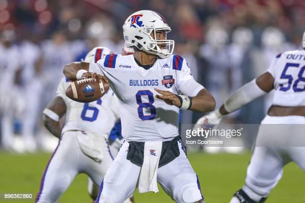 Louisiana Tech Bulldogs quarterback J'Mar Smith drops back to pass during the DXL Frisco Bowl game between the Louisiana Tech Bulldogs and SMU...