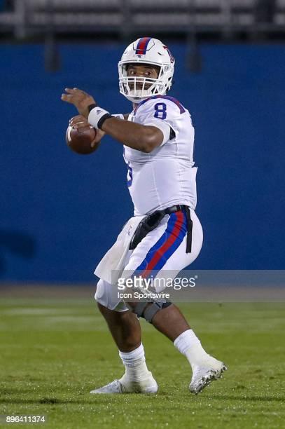 Louisiana Tech Bulldogs quarterback J'Mar Smith sets to throw during the DXL Frisco Bowl game between the Louisiana Tech Bulldogs and SMU Mustangs on...