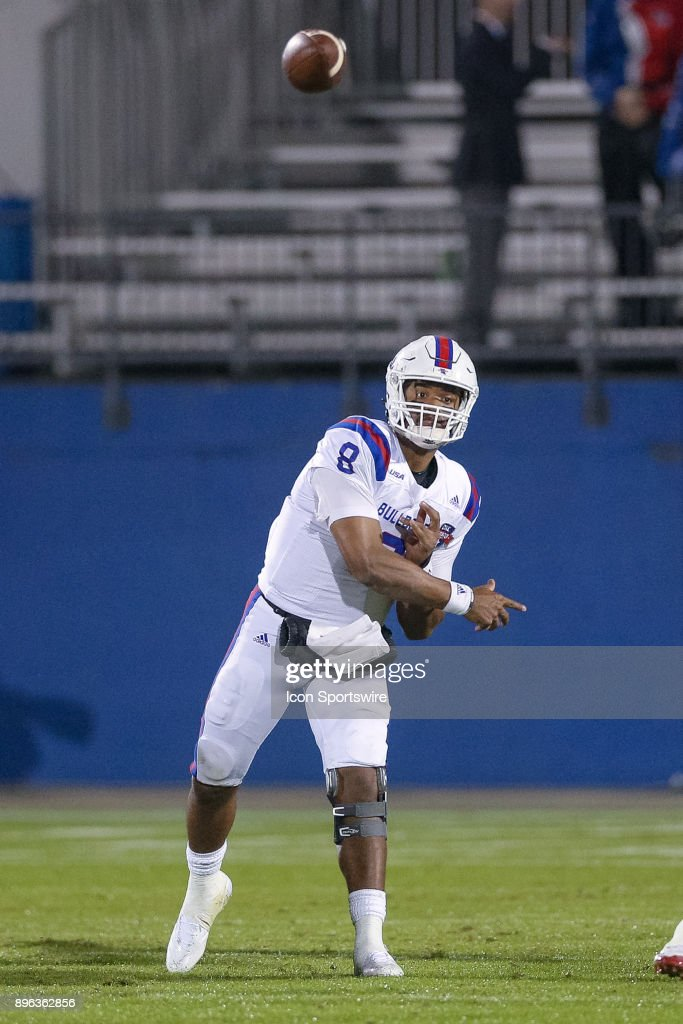 Louisiana Tech Bulldogs quarterback J'Mar Smith (8) throws a pass during the DXL Frisco Bowl game between the Louisiana Tech Bulldogs and SMU Mustangs on December 20, 2017 at Toyota Stadium in Frisco, TX.